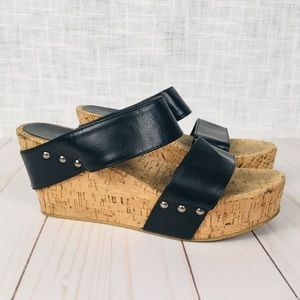 Rampage cork and vegan leather wedges, size 8M